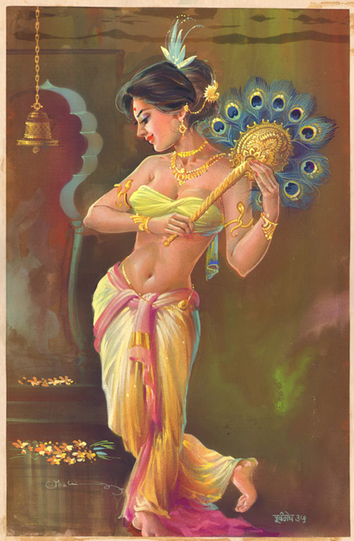 પૂર્વમેઘ ૩૮The Courtesan of Chandishwar Temple in UjjainImage courtesy joshiartist.in© Artist Nana Joshi. Image reproduced with permission.